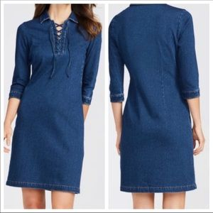 J McLaughln denim 3/4 sleeve dress size small